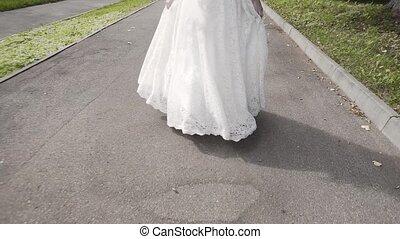 ulica., panna młoda, szczęśliwy, poślubny strój