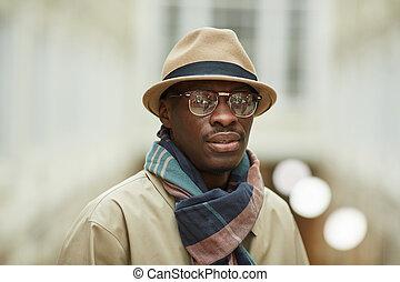 ulica, przedstawianie, afrykański człowiek