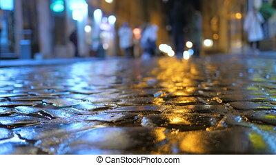 ulica, przejście, handel, ludzie, miasto, deszcz, wieczorny