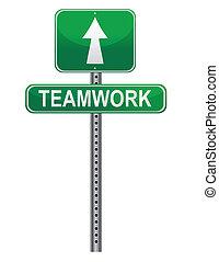 ulica, teamwork, znak
