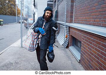 ulica, torba, miasto, bezdomny, człowiek