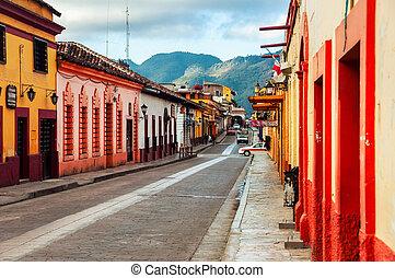 ulice, san, meksyk, kolonialny, od, cristobal, casas, las
