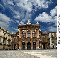 ulice, unesco, architecture., południowy, italy., sycylijski...