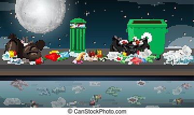 uliczna scena, śmieci