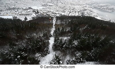 Ulriken - Descend by cable car from Mount ulriken in Bergen...