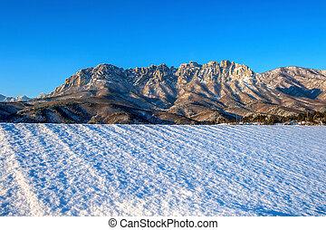 Ulsan bawi Rock in Seoraksan mountains in winter, South Korea.