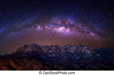 Ulsan bawi Rock with Milky way galaxy on Seoraksan mountains in winter, South Korea.