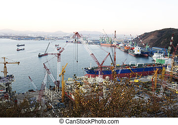Ulsan shipyard in south korea Industrial Complex