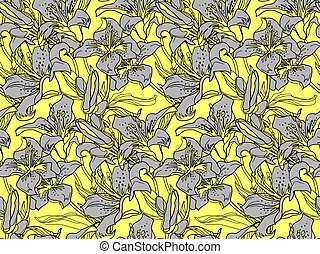 Ultimate gray silhouettes of lily flowers and leaves on Yellow illuminating.