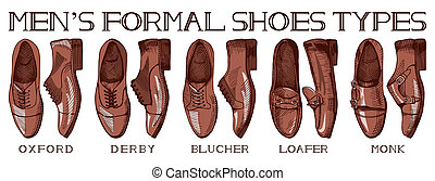 Ultimate guide for men's suit shoes - Vector illustration of...