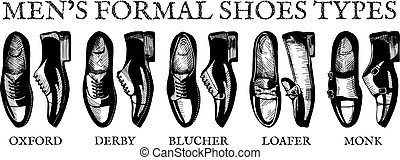 Ultimate guide for mens suit shoes - Vector illustration of...