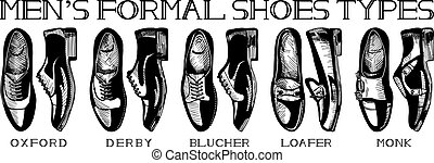 Ultimate guide of mens suit shoes - Vector illustration of...