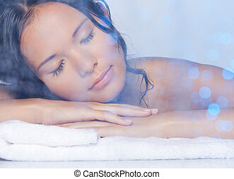 Ultimate relaxation - Beauty portrait in the spa of calm ...