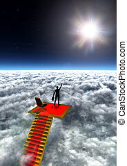 Illustration of a businessman climb standing in victory on top of the world.