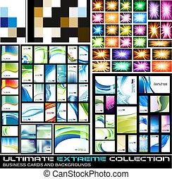ultimate, zakelijk, extreem, verzameling, kaarten