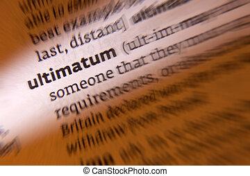Ultimatum - Dictionary Definition