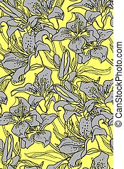 Ultimatum grey outline silhouettes of lily flowers and leaves on yellow illuminating..