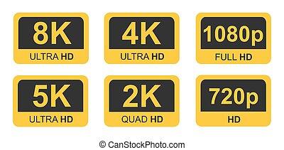 ultra, 決断, 8k, ロゴ, 4k, 定義, 5k, 金, 高く, hd, tv, ビデオゲーム, モニター, アイコン, スクリーン