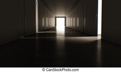 ultra, couloir, business, ouverture, beaucoup, concept., sombre, clair, par, 4k, portes, 3840x2160, en mouvement, blanc, exit., technologie, fermer, hd