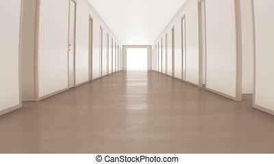 ultra, couloir, business, ouverture, lumière, concept., beaucoup, clair, par, 4k, portes, 3840x2160, en mouvement, blanc, exit., technologie, fermer, hd