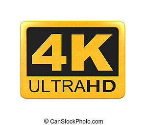 Ultra HD 4K icon isolated on white background. 3D render