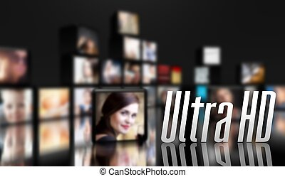 Ultra HD concept, LCD panels on black