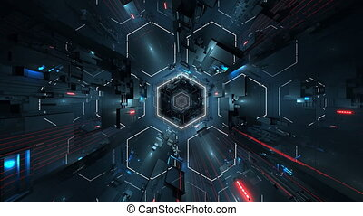 Ultra HD hexagonal tunnel. High-tech 3D animation. Seamless loop 3D animation for VJ editors, motion designers, visual projections of concert, fashion shows, stage designs, parties, presentations, DVD, music clips, video arts, intros etc