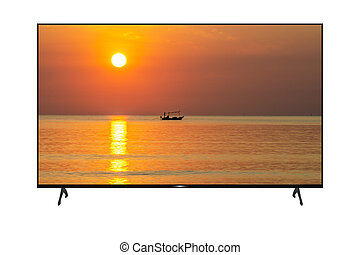 Ultra High Definition Monitor on White Background. With morning sea images.