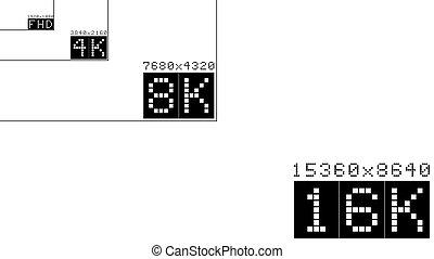 Ultra high resolution 16k comparison mockup vector