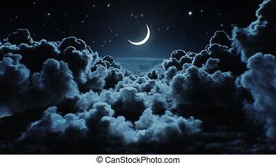 ultra, horizon., op, looped, vliegen, maanlicht, het glanzen...
