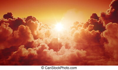 ultra, infini, seamless., clair, voler, horizon., sur, briller, beau, nuages, skies., fait boucle, coucher soleil, animation, 4k, 3840x2160, evening-morning, soleil, 3d, hd, sunset-sunrise