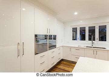 ultra moderne cuisine acier sans tache moderne le images rechercher photographies et. Black Bedroom Furniture Sets. Home Design Ideas