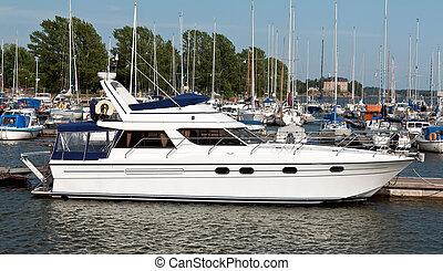 ultra-rapide, blanc, moderne, bateau