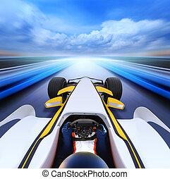 ultra-rapide, bolide, route