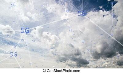ultra-rapide, concept, communication, nuages, symboles, en mouvement, 5g