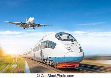 ultra-rapide, passager, concept, transport., train, ciel, avion