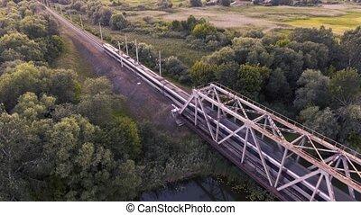 ultra-rapide, pont, conduit, train, coucher soleil, rivière, travers