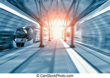 ultra-rapide, train., moderne