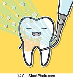 ultra-sônico, scaler, e, tooth.