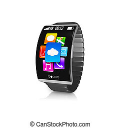 ultra-thin black curved screen smartwatch with metal watchband isolated on white