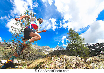 Ultra trail in the mountains during training