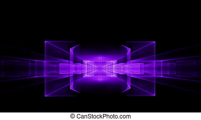 Ultra Violet Cubes Rotating - Abstract surrealistic...