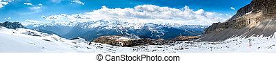 Ultra wide panorama of popular alpine ski resort Madonna di Campiglio, Italy