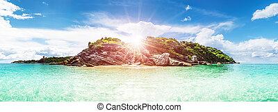 Ultramarine lagoon coastline background. Tropical island...
