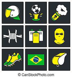 ultras, ventiladores, futbol, conjunto, iconos