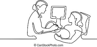 ultrasom, assistindo, mulher, grávida, doutor