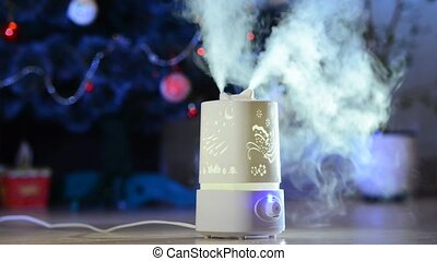 Ultrasonic humidifier in the house. Humidification. Vapor....