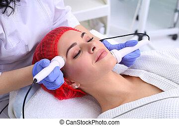 ultrasonido, procedure., anti viejo, elevación, cavitation