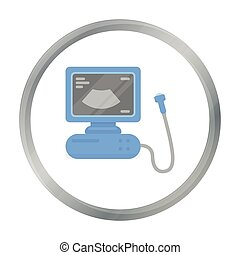 Ultrasound diagnostic icon in cartoon style isolated on ...