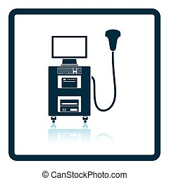 Ultrasound diagnostic machine icon. Shadow reflection design...